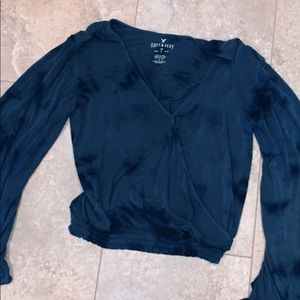 American Eagle Large Bell Sleeved Wrapped Top